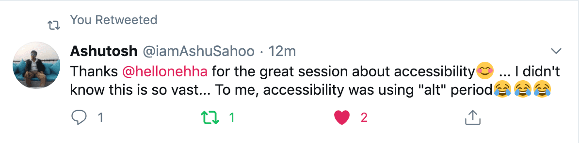 "Feedback of the session: ""Thanks Neha for the great session on the accessibility"""